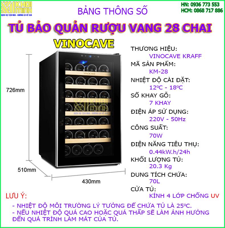 tủ bảo quản rượu vang vinocave 28 chai