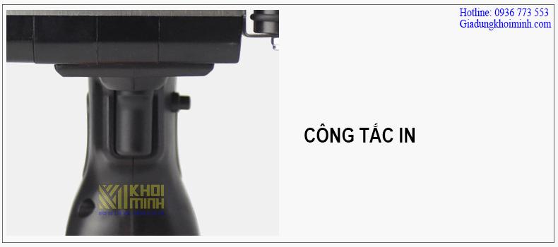 Công tắc của máy in date cầm tay KM-5CM được bấm nhẹ nhàng dễ dàng
