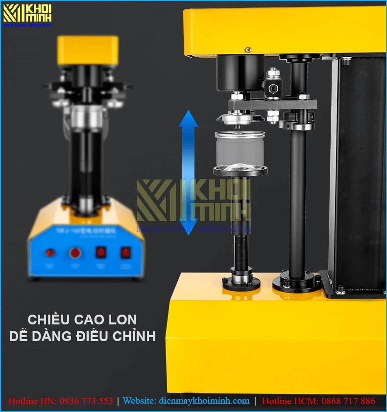 Máy viền mí nắp nhôm KM39-200 dễ dàng điều chỉnh chiều cao phù hợp với các kích thước lon khác nhau