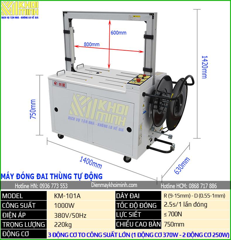 máy đóng đai thùng tự động km101A