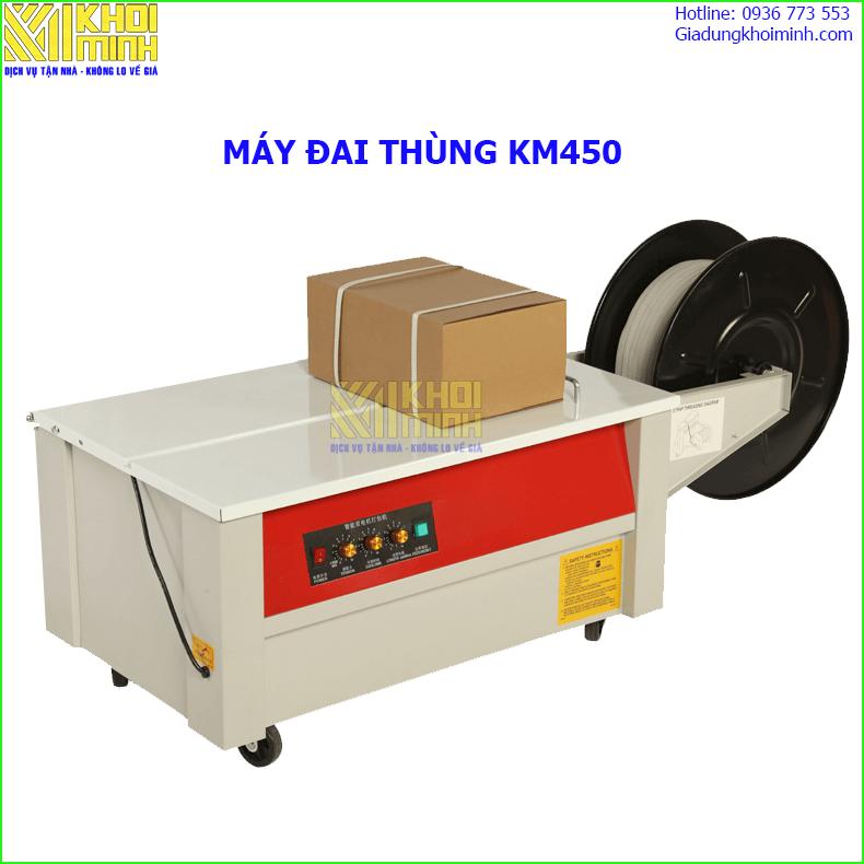 Máy đai thùng KM450 : đóng dây đai nhựa thùng carton, kiện hàng