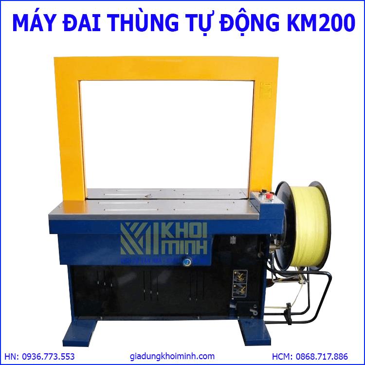 Máy đai thùng tự động KM200: đóng dây đai niềng thùng, kiện hàng