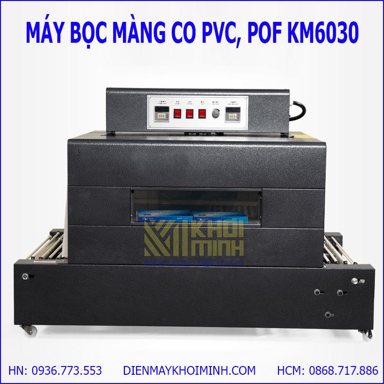 Máy khò màng co KM6030: khò màng co tự động, có đồng hồ chỉnh nhiệt.