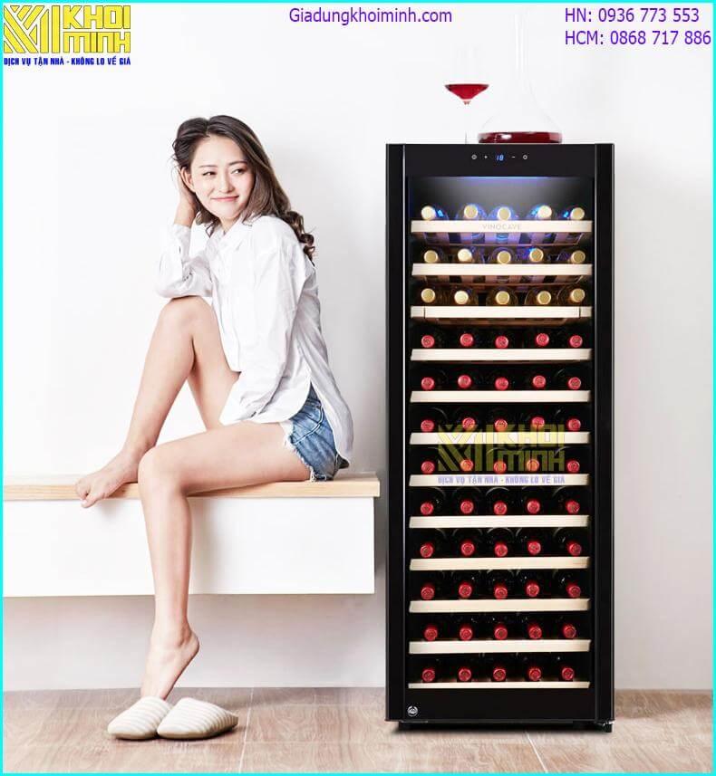 Tủ đựng rượu vang Vinocave: làm lạnh bằng khí nén, có cân bằng độ ẩm, chứa tối đa 85 chai
