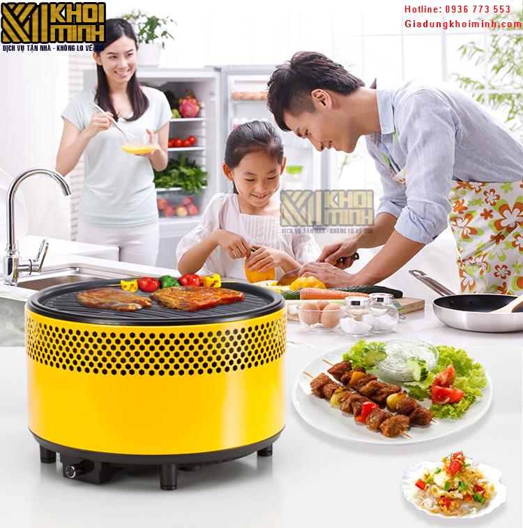 Bếp nướng than hoa không khói BBQ: dùng pin, an toàn, gọn nhẹ