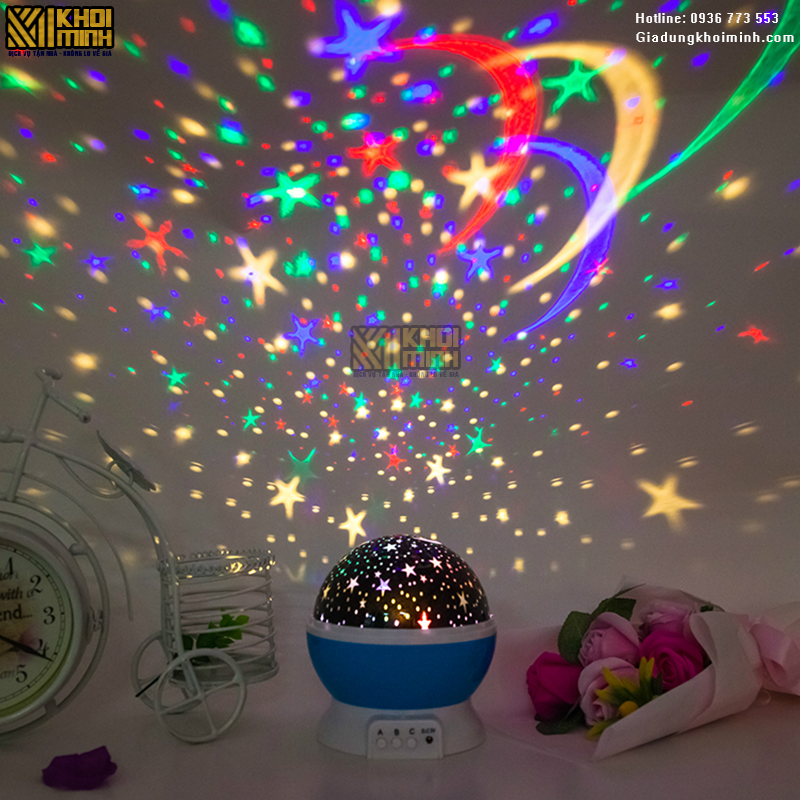 Đèn ngủ chiếu sao bầu trời tự xoay 360 độ: đổi màu với nhiều chế độ