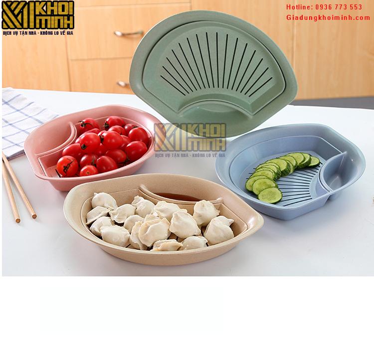 Đĩa đựng đồ ăn, hoa quả làm từ lúa mạch: hình quạt, an toàn sức khỏe