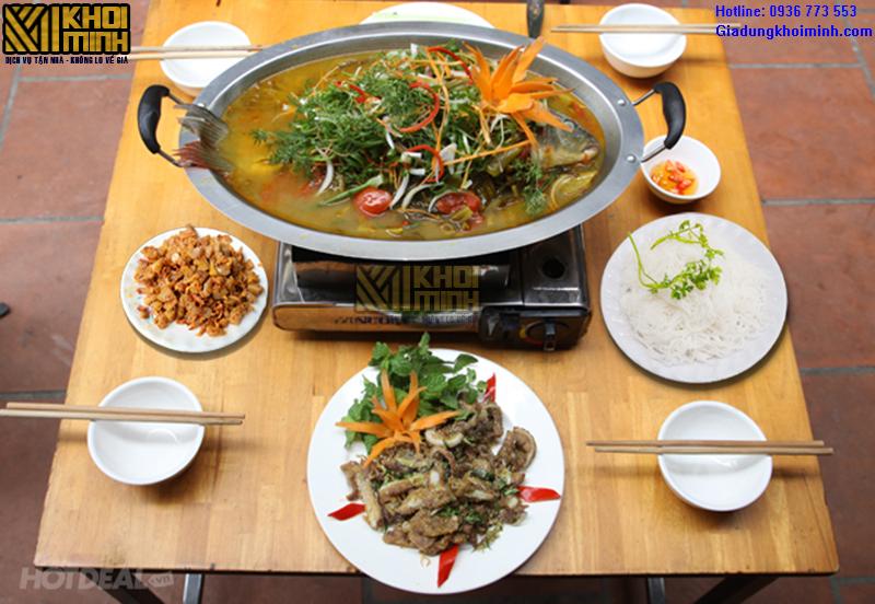 Khay cá chép om dưa bếp từ: chất liệu inox, dùng được trên mọi loại bếp