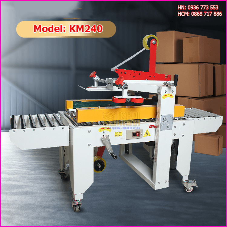Máy dán băng dính thùng carton KM240: tự động dán 2 mặt, năng suất cao