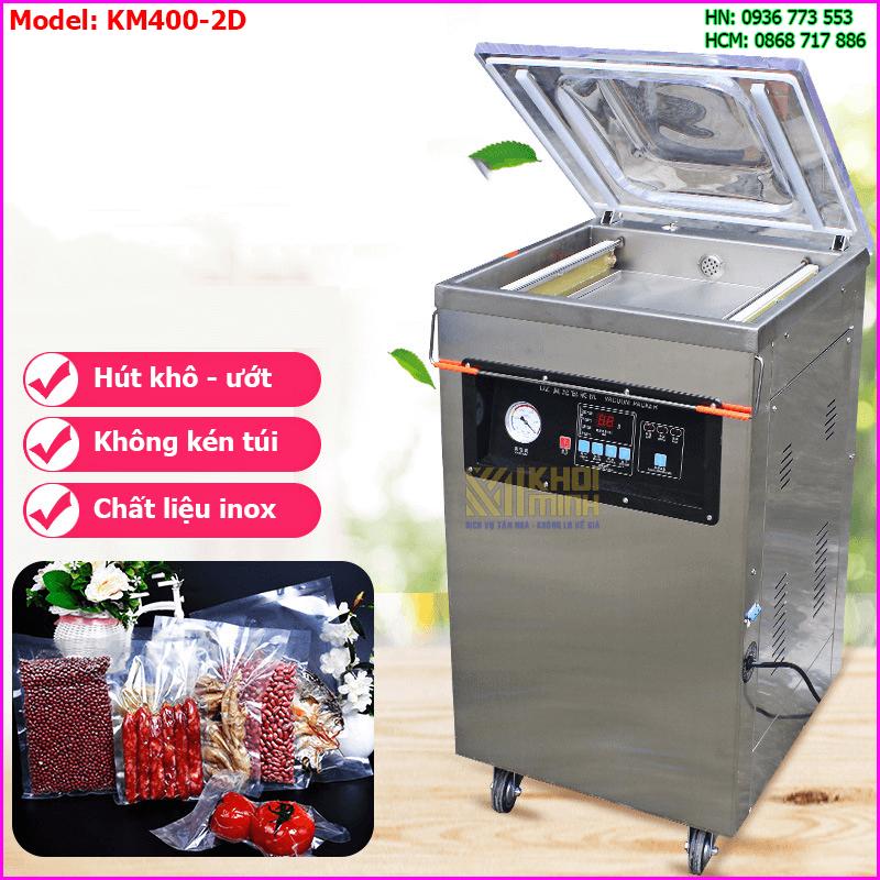 Máy đóng gói chân không thực phẩm KM400-2D: Chất liệu inox siêu bền