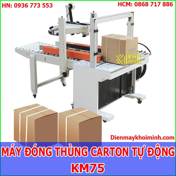 Máy đóng đai thùng carton tự động KM75: Tích hợp dây chuyền đóng gói liên tục