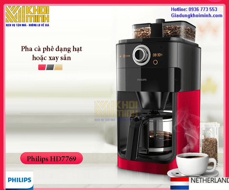 Máy pha cà phê Philips HD7769: Pha cà phê dạng hạt hoặc cà phê dạng xay sẵn