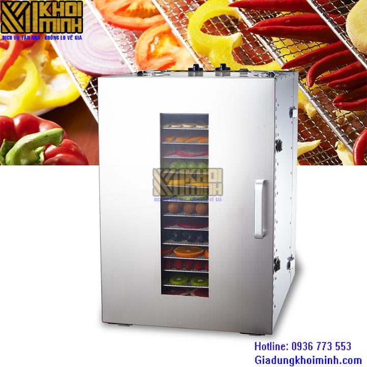 máy sấy thực phẩm KM-04 chất liệu inox: sấy cùng lúc được 16 tầng sấy