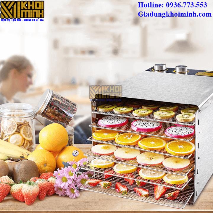 Máy sấy thực phẩm chất liệu inox: có 6 khay sấy, cửa kính toàn bộ
