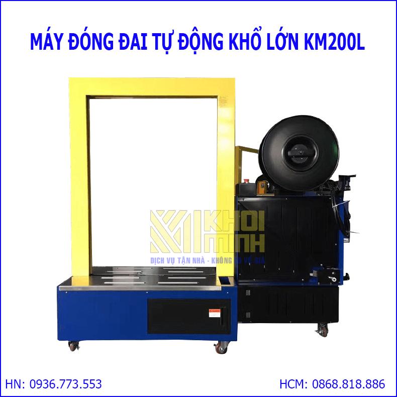 Máy siết đai thùng tự động Khôi Minh: máy đóng đai khổ lớn chất lượng cao