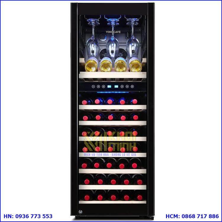 Tủ bảo quản rượu vang Vinocave 75 chai: Sang trọng, chất liệu bền bỉ, tiết kiệm diện tích