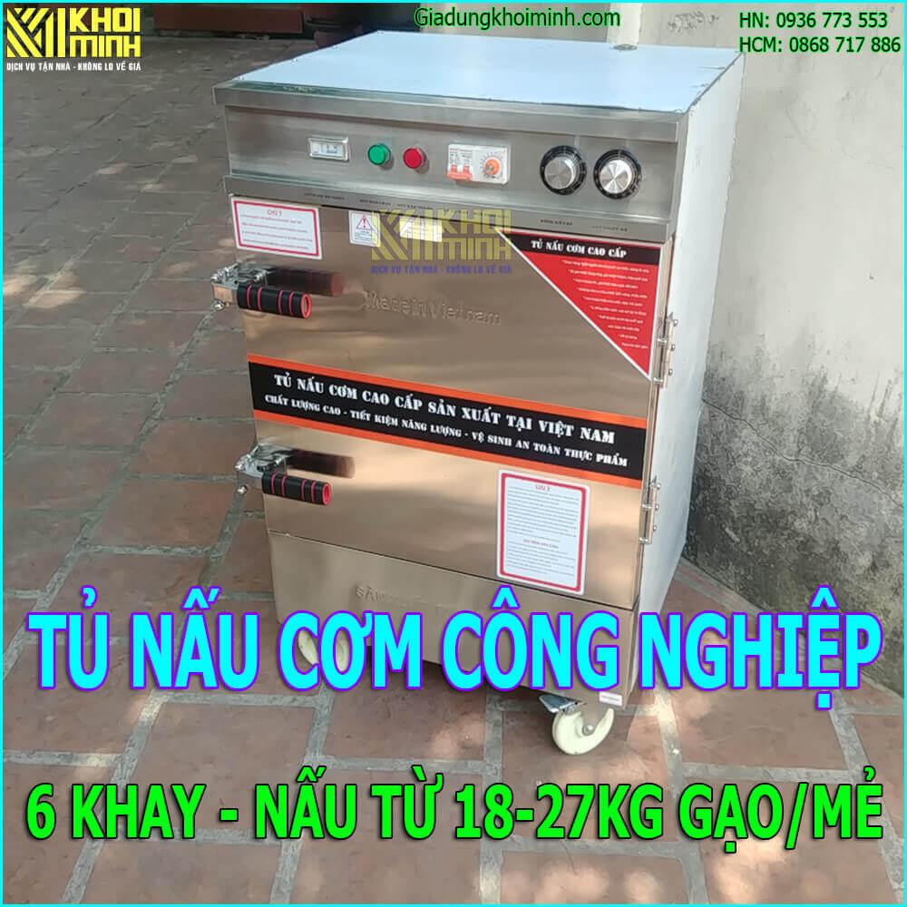 Tủ nấu cơm công nghiệp 6 khay: nồi hấp cơm, thức ăn, 18-27 kg/mẻ